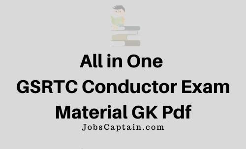 GSRTC Conductor Exam Material GK Pdf