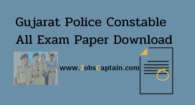 Gujarat Police Constable Exam Paper Download