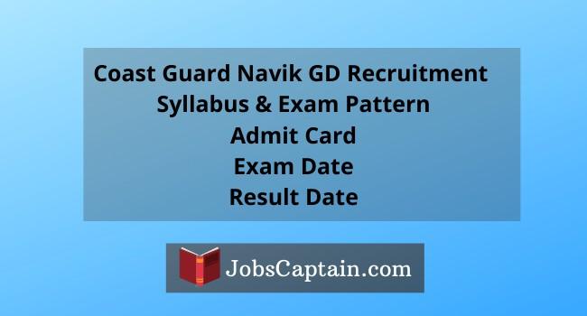 Coast Guard Navik GD Recruitment Apply Online