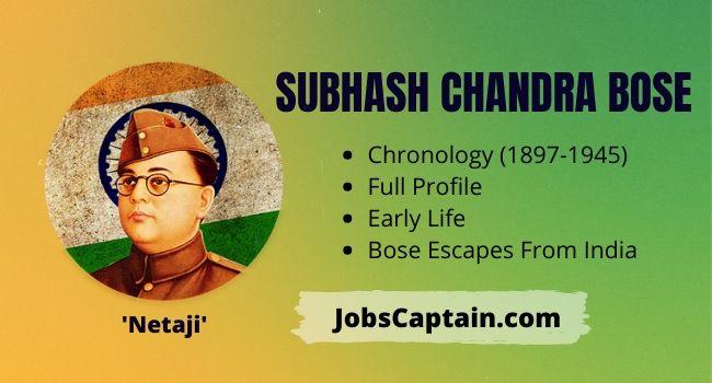 Subhash Chandra Bose Chronology, Full Profile, Early Life