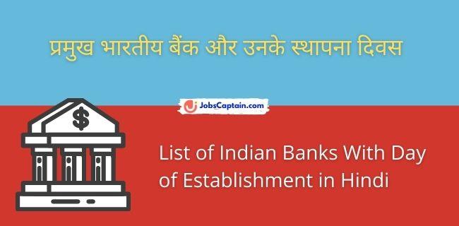 प्रमुख भारतीय बैंक और उनके स्थापना दिवस - List of Indian Banks With Day of Establishment in Hindi