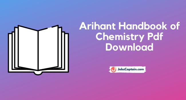 Arihant Handbook of Chemistry Pdf Download