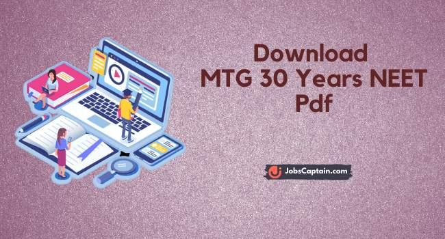 MTG 30 Years Neet Pdf Free Download