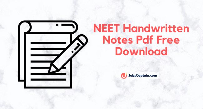 NEET Handwritten Notes Pdf Download