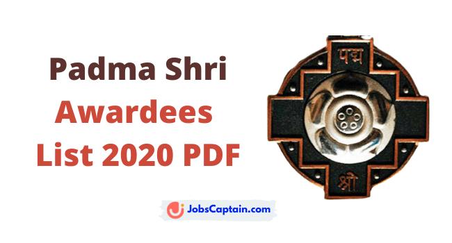 Padma Shri Awardees 2020 List